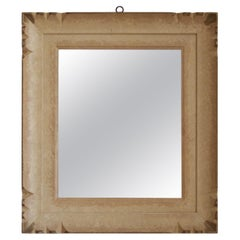 Italian, Wall Mirror, Beige and Gold Painted wood, Mirror Glass, Italy, 1940s