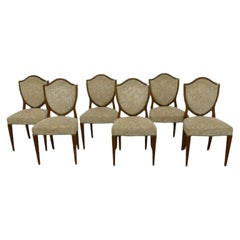 Set of 6 Art Deco Walnut Chairs, Brass Foot Clogs