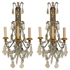 Pair of Crystal Antique Gilt Wall Sconces