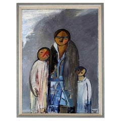 Mid-Century Modern Framed Oil Painting on Canvas Ber Warzager Mother 2 Children