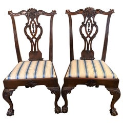 Pair of Philadelphia Chippendale Style Carved Mahogany Side Chairs