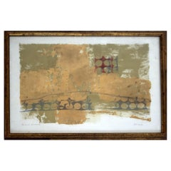 Framed Pierre Pecoud Modern Mixed Media Abstract with Gold Painting