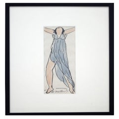 Modern Framed Abraham Walkowitz Blue Dress Small Ink Watercolor Drawing Painting