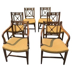 Handsome Set of 6 Walnut Regency Style Dining Chairs