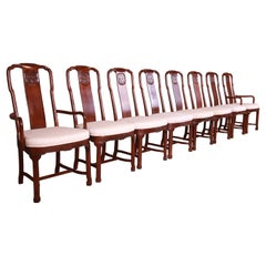 Drexel Heritage Hollywood Regency Chinoiserie Mahogany Dining Chairs, Set of 8