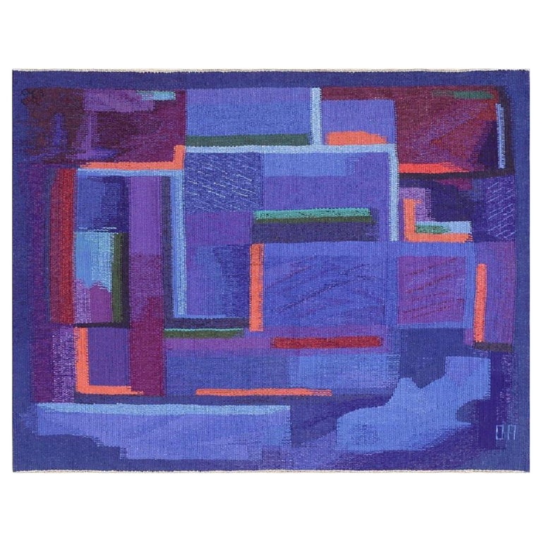 """Vintage Scandinavian Tapestry Rug by Eevahenna Aalto. Size: 3' 5"""" x 4' 6"""" For Sale"""