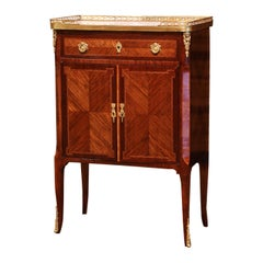 Early 20th Century French Louis XV Marquetry Rosewood Cabinet with Marble Top