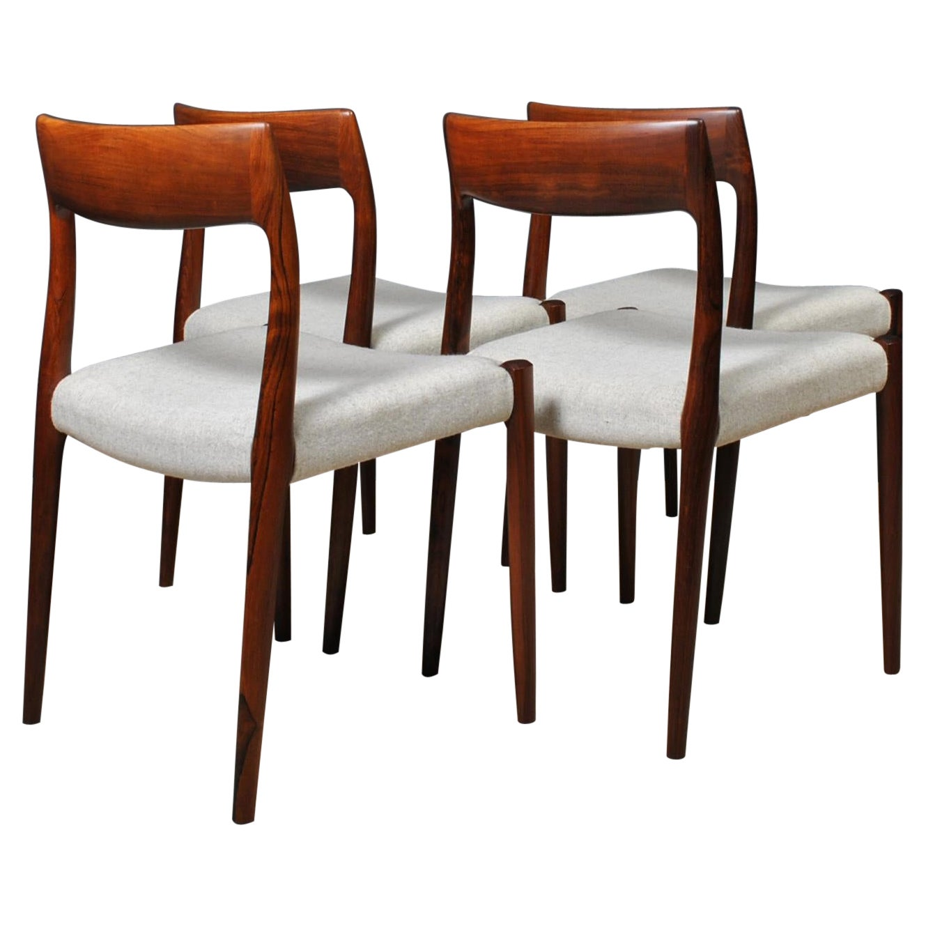 Set of Niels O. Moller Rosewood Dining Chairs, Model 77