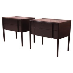 Barney Flagg for Drexel Parallel Black Lacquered Nightstands, Newly Refinished