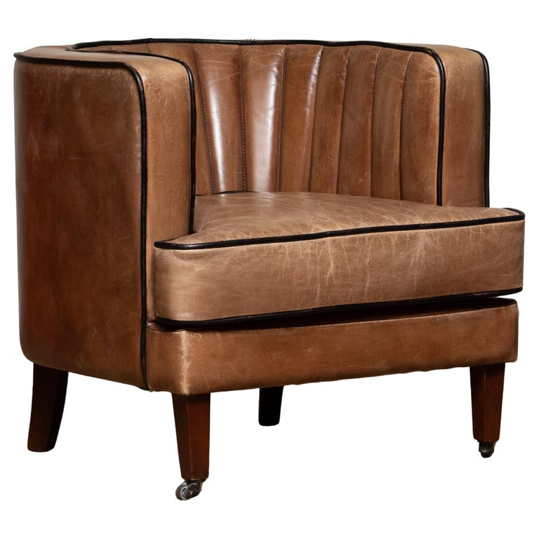 Brown Leather Art Deco Club Lounge Chair, Denmark, 1950s For Sale