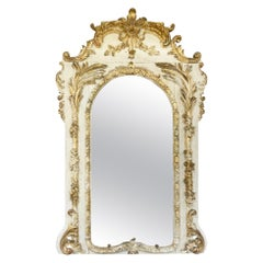19th Century French White/Cream and Gold French Mirror