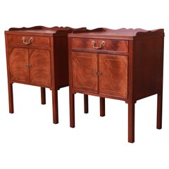 Baker Furniture Georgian Inlaid Mahogany Nightstands, Newly Refinished