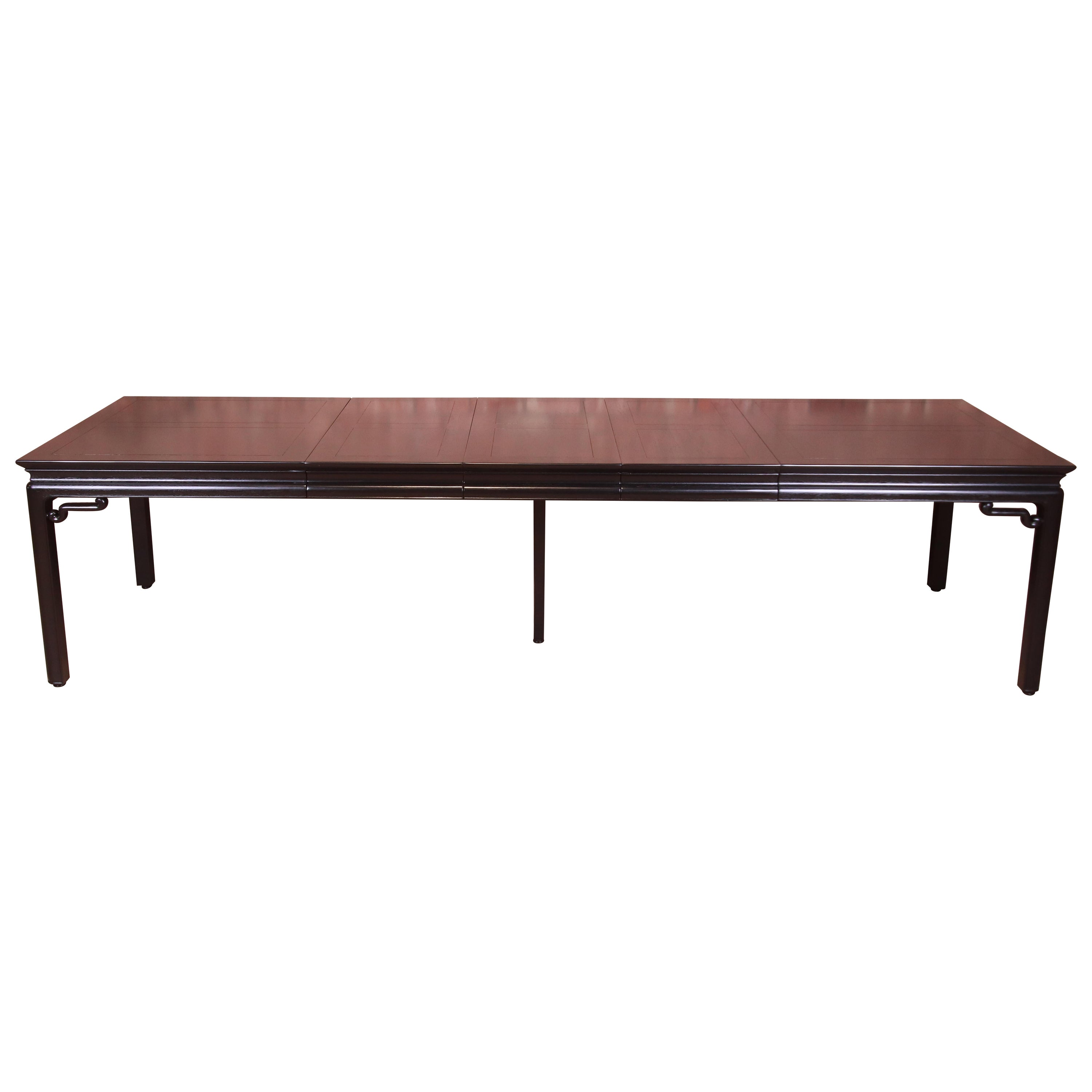 Michael Taylor for Baker Far East Black Lacquered Dining Table, Newly Refinished