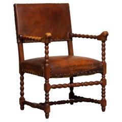 18th Century Italian Oak and Nailed Brown Leather Renaissance Armchair