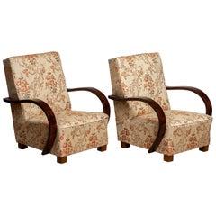 1920 Pair Scandinavian Art Deco Jacquard Armchair / Lounge / Club Chairs Sweden