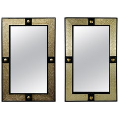 Hollywood Regency Moroccan Mirror in Brass and Wood Frame, a Compatible Pair