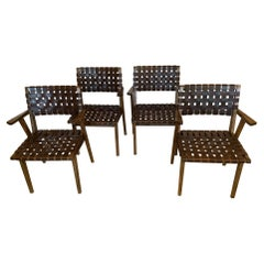 Superb Set of Four Jens Risom Style Woven  Leather Strap Dining Chairs