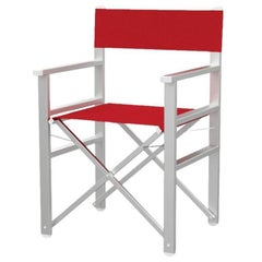 in Stock in Los Angeles, Calipso Red/White Outdoor Director's Chair