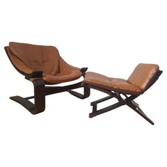 Midcentury Lounge Chair Kroken with Ottoman, Ake Fribytter, Nelo, Sweden, 1970s