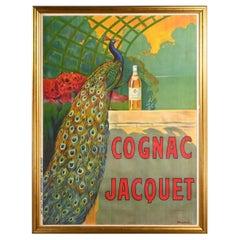 Bouchet Antique Art Deco Art Nuovo Cognac Jacquet Advertising Peacock Poster