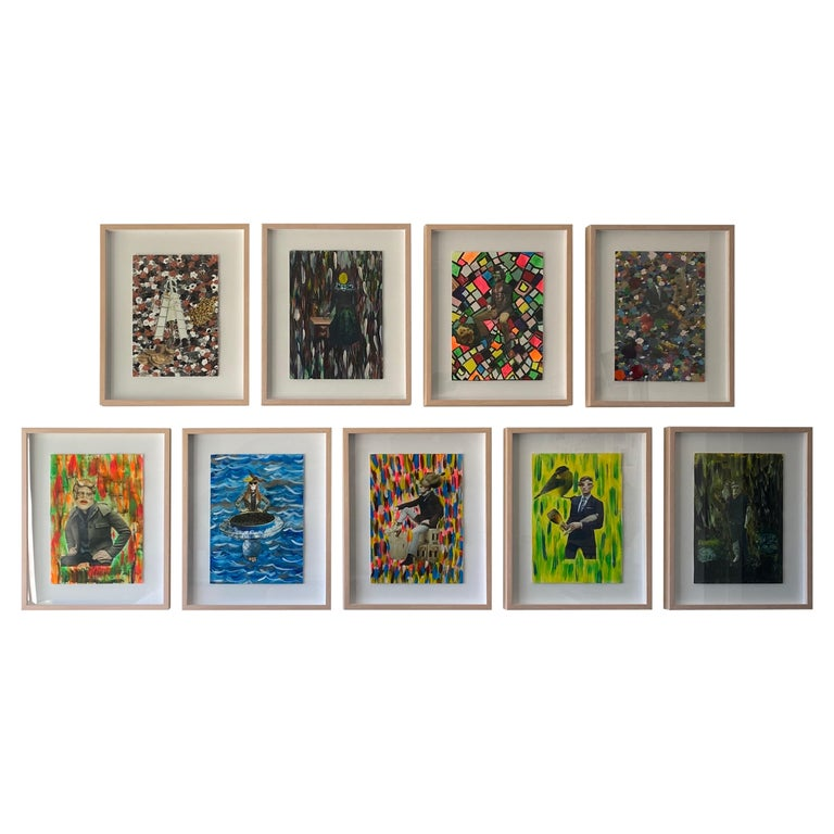 Collage, Painting Multicolor Set of 9, 21st Century by Mattia Biagi For Sale