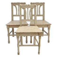 Set of Three Painted Pine Children's Chairs