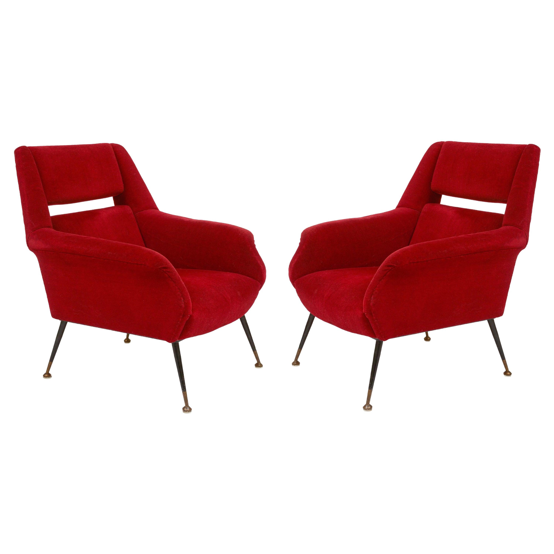 Red Velvet Gigi Radice Minotti Pair of Lounge Chairs, Italy, 1950s