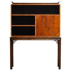 1930s, Walnut Art Deco Dry Bar Display Cabinet