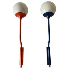 Orange-Dark Blue Long Metal Body Glass Pair of Sconces by Reggiani, 1970s, Italy