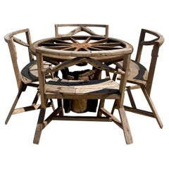 Vintage Rustic Custom Built Wagon Wheel Table and Benches Set