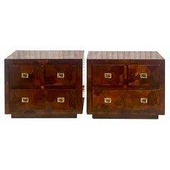 Midcentury American of Martinsville Patchwork Olive Wood Nightstands, a Pair