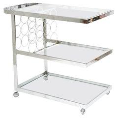 Three-Tier Chrome Bar Cart