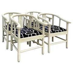 Vintage Organic Modern Enrique Garcel Tessellated Bone Dining Chairs, Set of 4
