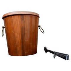 Modern Barware Walnut Wood Ice Bucket Set Stainless Steel Tongs 1960s Japan
