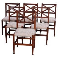 Six Antique Arts & Crafts Mission Oak Brooks School Dining Chairs, c1910
