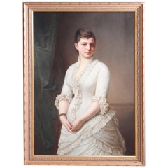 Large Antique Oil on Canvas Portrait Painting of a Woman, 20th C