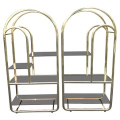 Pair of Brass and Smoked Glass Etageres