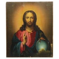 Hand Painted Religious Icon of Jesus on Wood Board, Signed JNC,  20th C