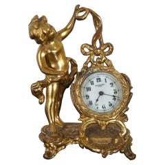 Antique Art Nouveau New Haven Clock Co Figural Gilt Metal Cherub Desk Clock