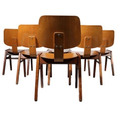 """75 Rare Mid-Century Design Stacking """"Church"""" Chairs Wood Eames Style, '60"""