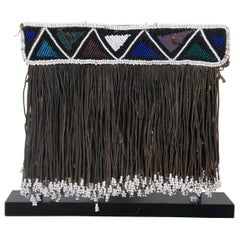 Antique African Tribal Micro Beaded Geometric Fringed Display on Iron Stand