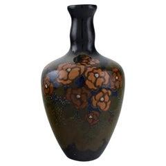 Arnhem, Holland, Antique Art Nouveau Vase with Hand-Painted Flowers