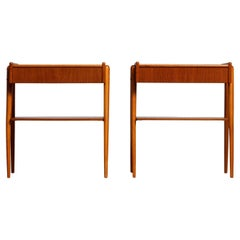 1950 Pair of Teak Nightstands Bedside Tables by Carlström & Co Mobelfabrik