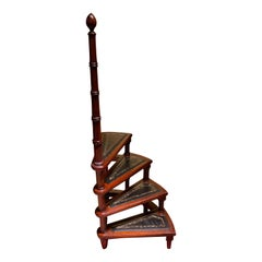 20th Century English Leather Library Step or Stairs / Stepladder, Victorian