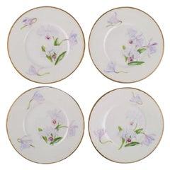 Four Antique Unique Royal Copenhagen Plates in Porcelain with Iris Flowers