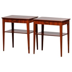 1960's Pair Slim Scandinavian Mahogany Night Stands / Bedside Tables from Sweden