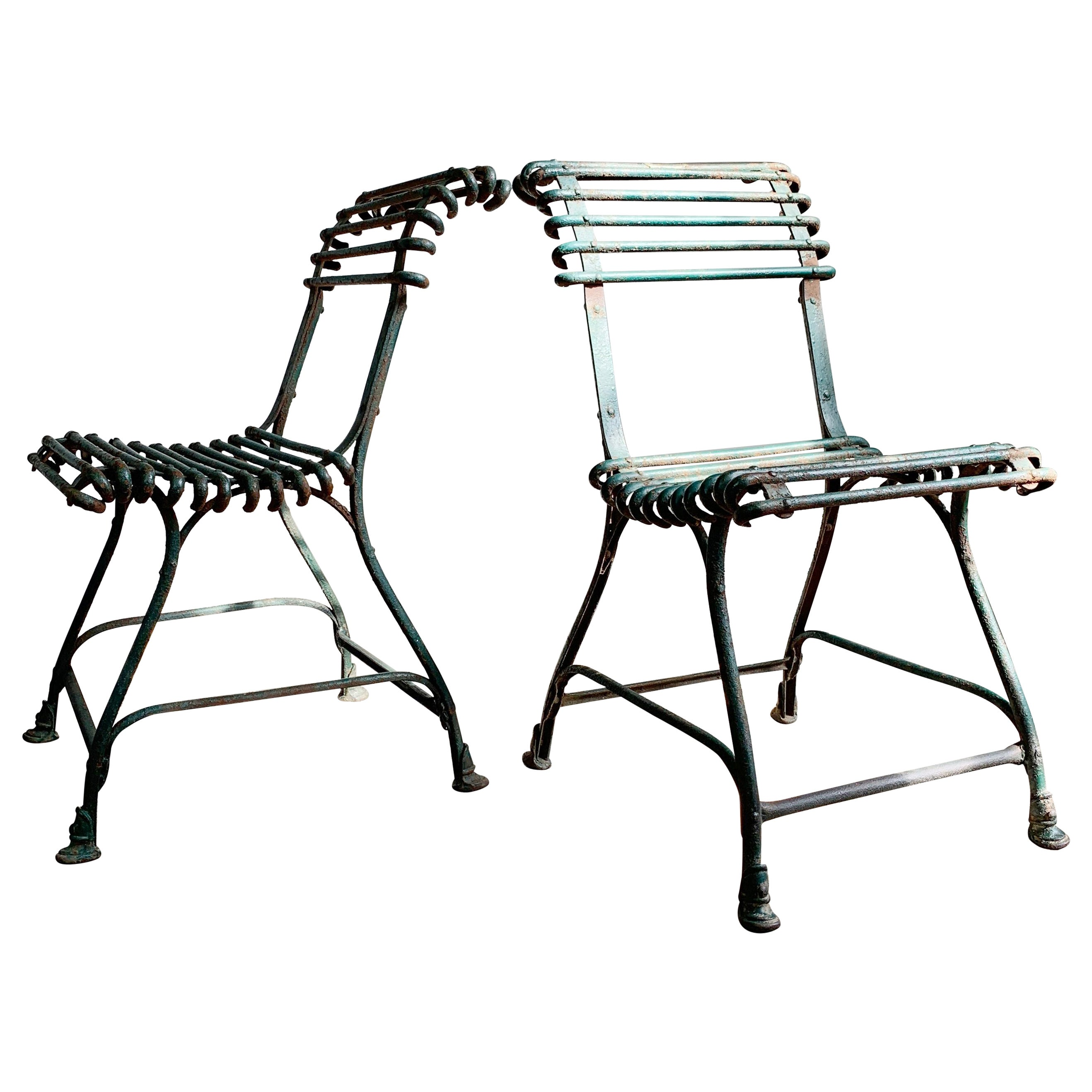 Pair of Arras Saint Sauveur Garden Chairs, circa 1910