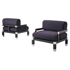 Romeo Rega Pair of Reupholstered Lounge Chairs in Purple Fabric