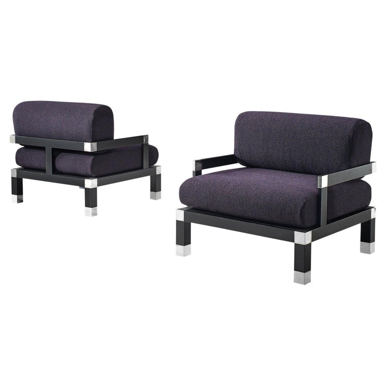 Romeo Rega Pair of Reupholstered Lounge Chairs in Purple Fabric For Sale