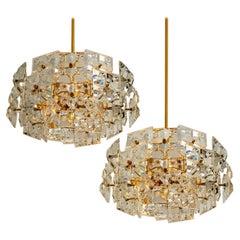Pair of Kinkeldey Chandeliers, Gold-Plated Brass Crystal Glass, 1970
